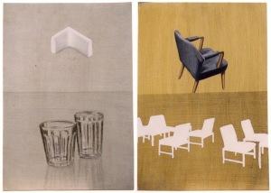 Arts décoratif (1 & 2 av 10). Akryl på pannå, 49x34 (varje del), 1992.