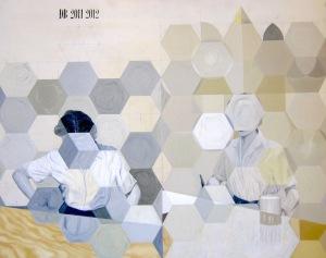 Betsning av bord i två steg. Olja på pannå, 65x54, 2011-12.