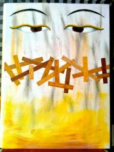 Buddhas ögon. Olja på pannå, 33x24, 2012.