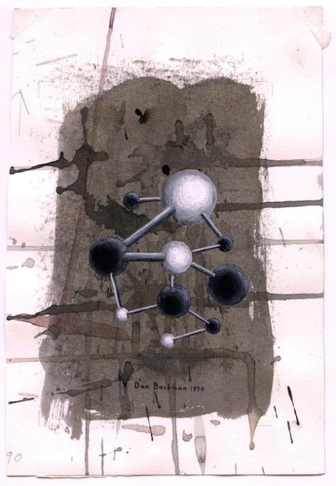 Cellstruktur (modell). Akvarell, 25x17, 1990.