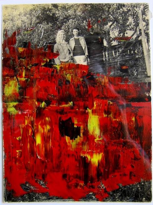 Dan och systrarna Ekdahl. Akryl på fotografi, 20x15, 1990-talet & 2000-talet.