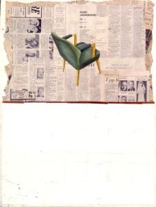 Den gröna stolen. Akryl på tidningspapper på pannå, 50x66, 1990-talet.