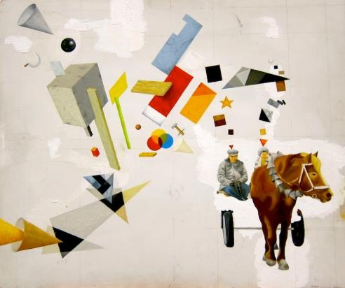 Den ryska konstruktivismen anfaller bonden och hans hustru från den stora kolchosen. Olja på pannå, 61x50, 2011.