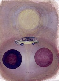 Flying car - Cosmic mother. Akvarell, 23x31, 1989.