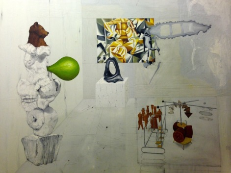 Jag gillar inte Ulf Lindes träkonstruktion som håller ihop Duchamps glas. Olja på pannå, 61x50, 2011.