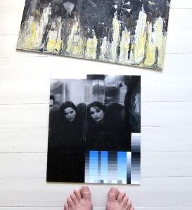 Jim, Andrea & Caroline. Akryl på fotografi på pannå, 41x33, pågående arbete 2016.