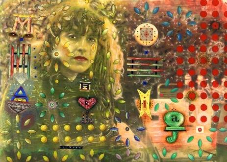 Maria 1979. Gouache på fotografi, 17,5x23,5, 1985.