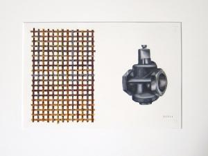 Maskindel, flätning. Akvarell, 24,5x16, 2013.