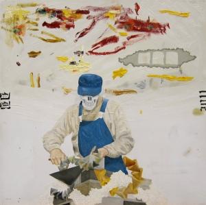 Murare, Rune Jansson-färgfläckar och Duchamp-grejor. Olja på pannå 39,5x39,5, 2011.