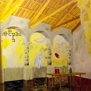 Slöja som betraktar en hand och ett dervish-huvud. Olja på pannå, 39,5x39,5, 2010.