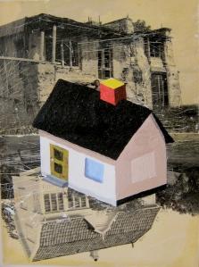 Tre hus. Akryl på fotografi, 20x15, 1990- & 2000-talet.